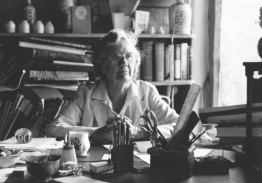 Betty Archdale at her school desk, which once belonged to her grandfather Alexander Russel and sued by him when he was editor of The Scotsman.  Image Abbotsleigh Archives reproduced with permission.