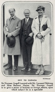 Sir Norman Angell and Leonard Behrens with Miss Barbara Hayes on board ship en route to Canada where Sir Norman was to present a series of lectures on foreign affairs.     Date: 1935