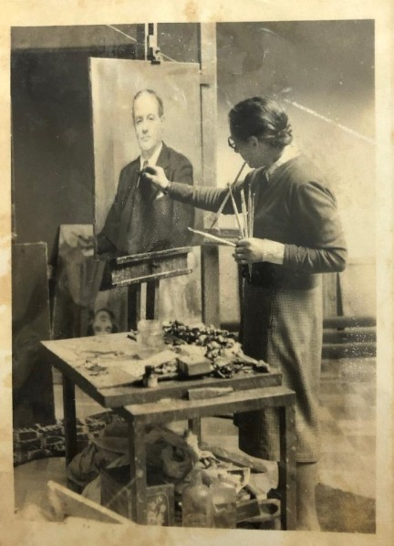 Alice Burton at the easel